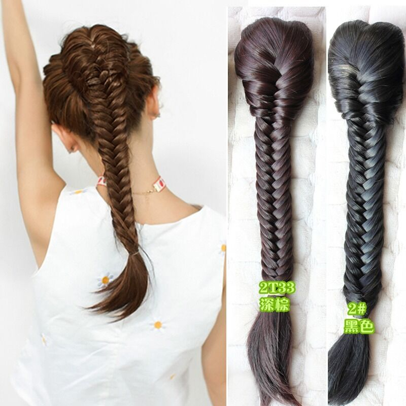 Women Twist Braided Ponytail Pigtail Drawstring Hair Extension Piece Black Brown