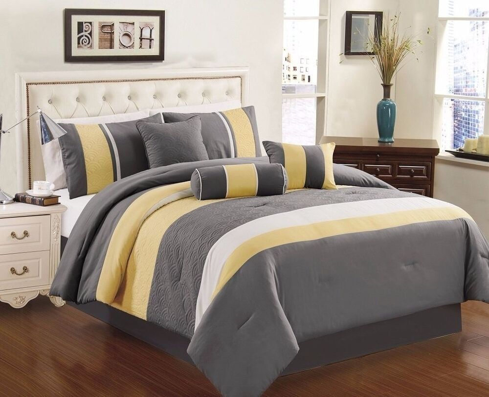 Black And Yellow Comforter Queen: Chezmoi Collection 7-Piece Yellow Gray White Quilted