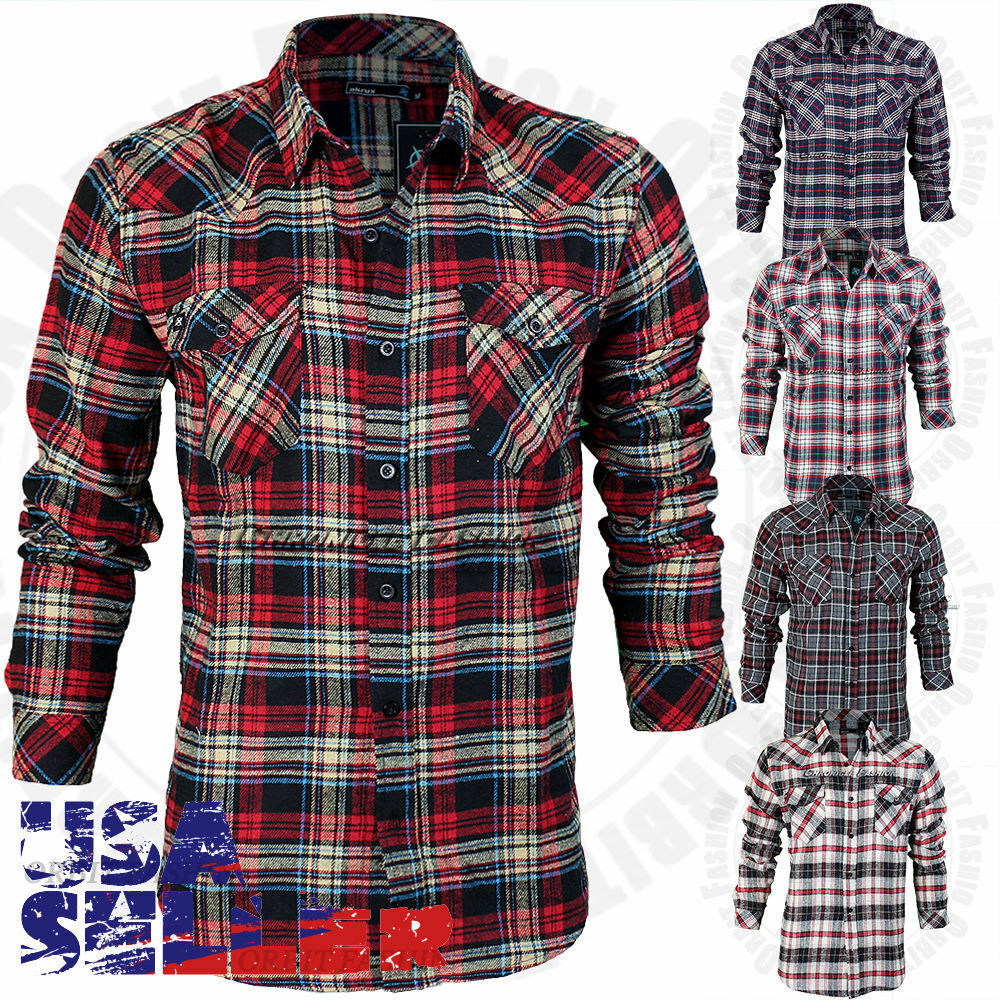 Mens Flannel Shirt Long Sleeve Heavy Plaid Casual Checks