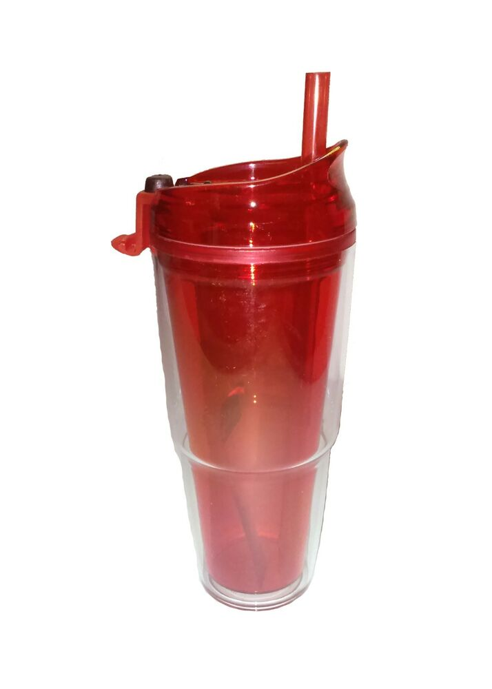 Tumbler Double Acrylic Wall Lid Amp Straw Red Ebay