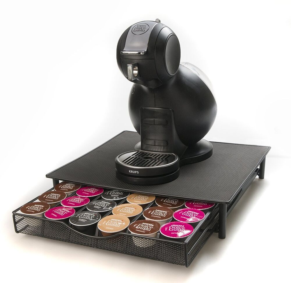 black coffee machine capsule drawer holder stand for 36 dolce gusto pod ebay. Black Bedroom Furniture Sets. Home Design Ideas