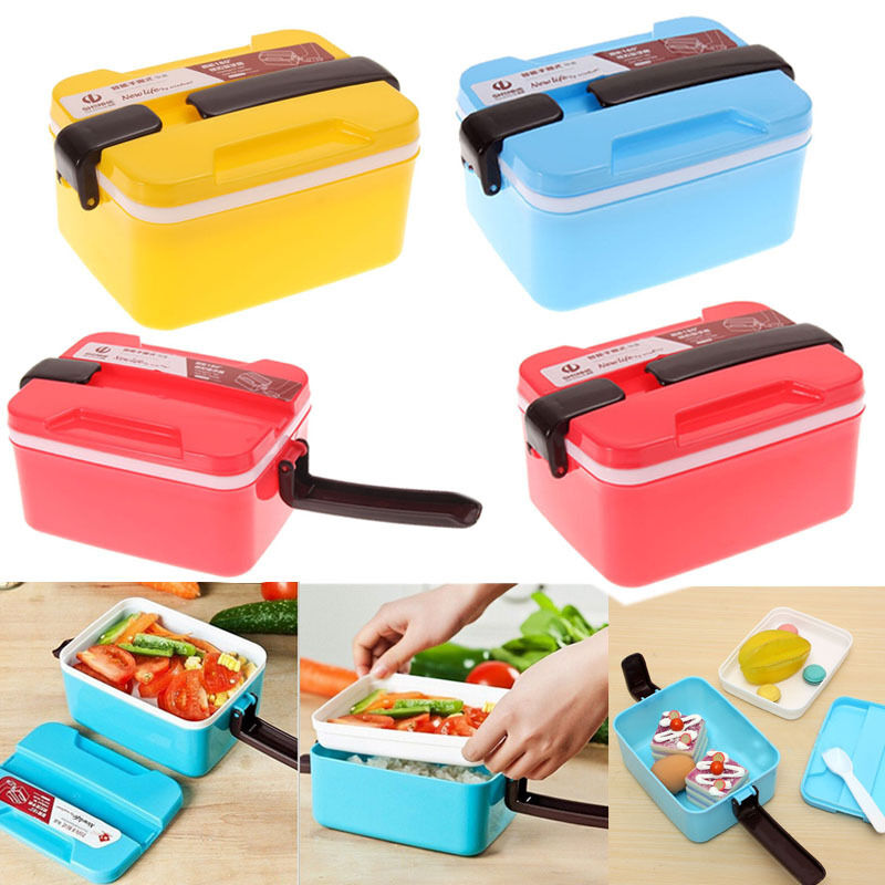 2 layer microwave bento picnic food container lunch box. Black Bedroom Furniture Sets. Home Design Ideas