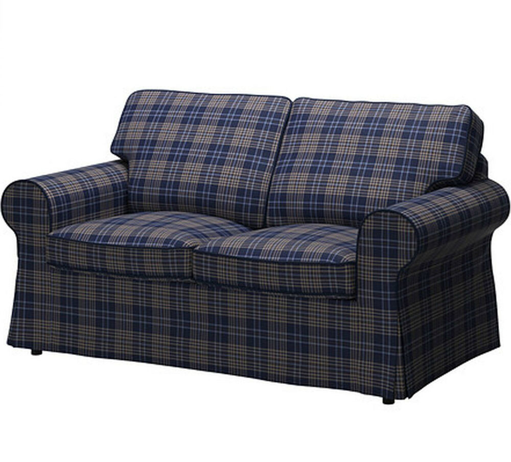 Ikea Ektorp Cover Loveseat 2 Seat Sofa Slipcover Rutna Multicolor Plaid Blue New Ebay
