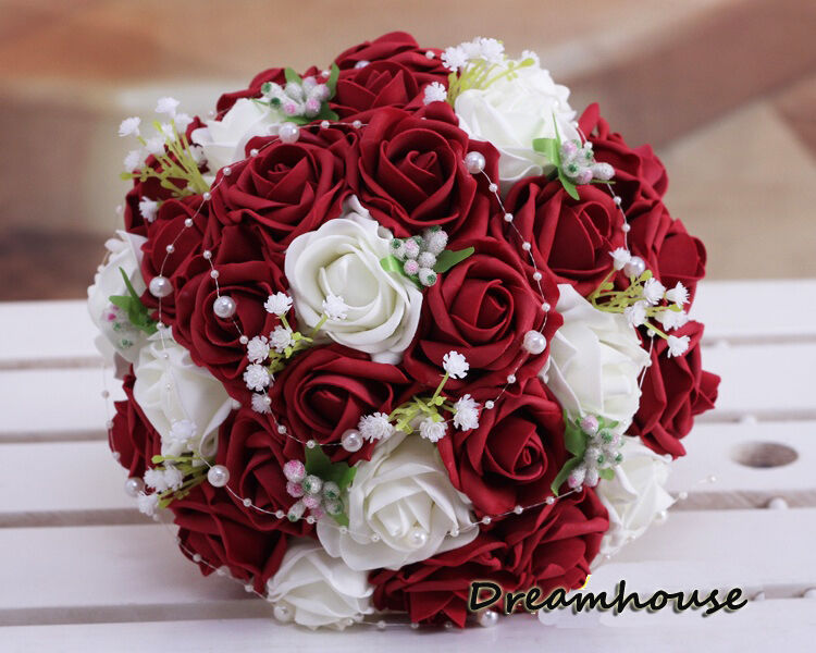 Wedding bridal bride bouquet ivory wine red roses flowers w pearls lace decor ebay - Flowers good luck bridal bouquet ...
