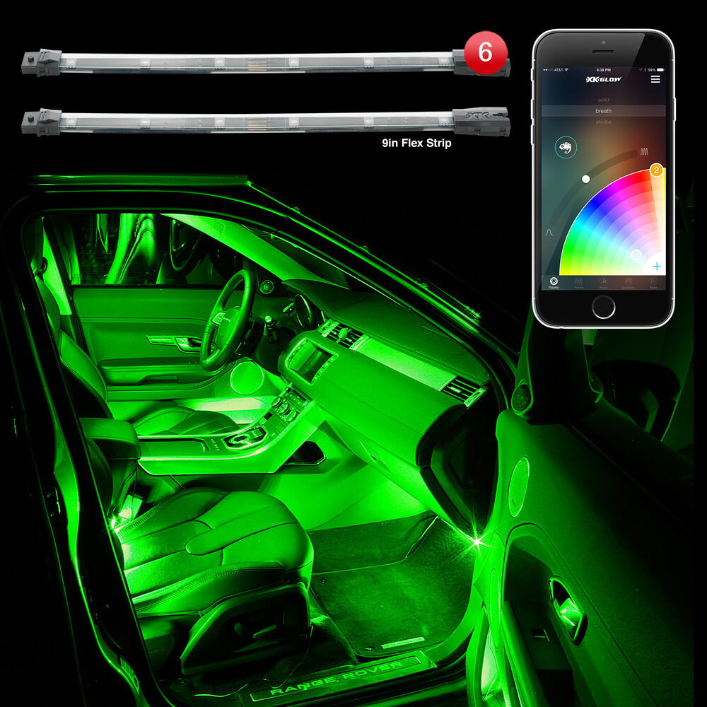 xkglow xkchrome bluetooth smartphone 6pc interior car truck led accent light kit ebay. Black Bedroom Furniture Sets. Home Design Ideas