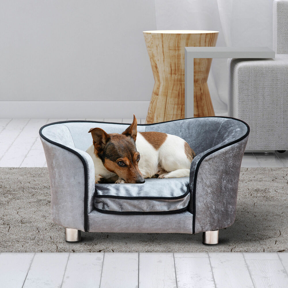 luxus hundesofa hundecouch katzensofa hundebett sofa tierbett mit kissen grau ebay. Black Bedroom Furniture Sets. Home Design Ideas