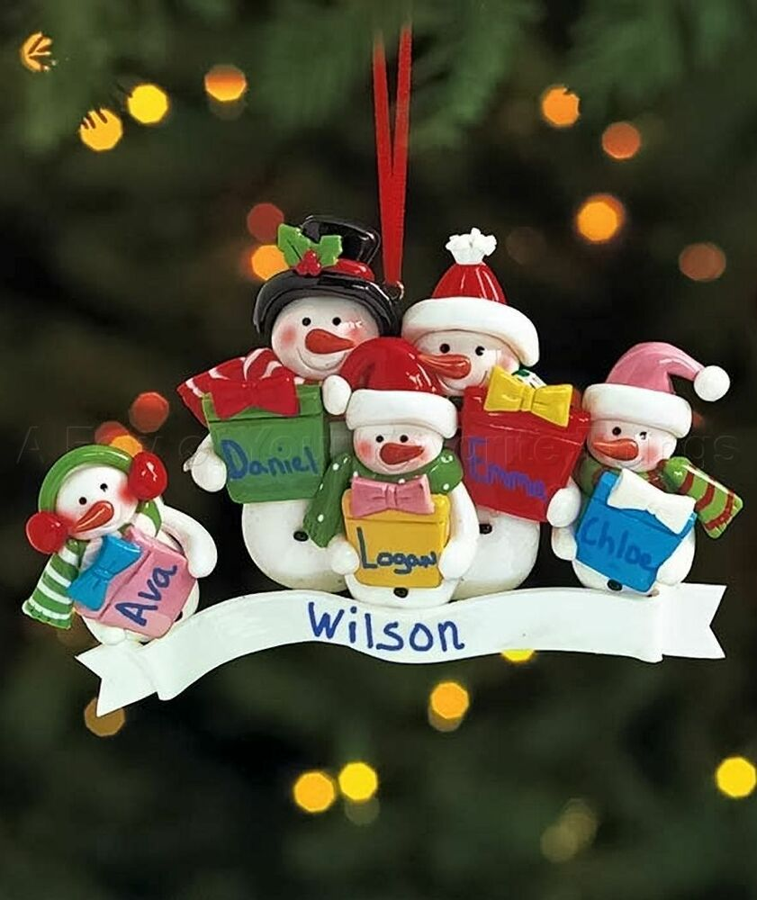 FAMILY OF 5 PERSONALIZED SNOWMAN CHRISTMAS TREE ORNAMENT ...
