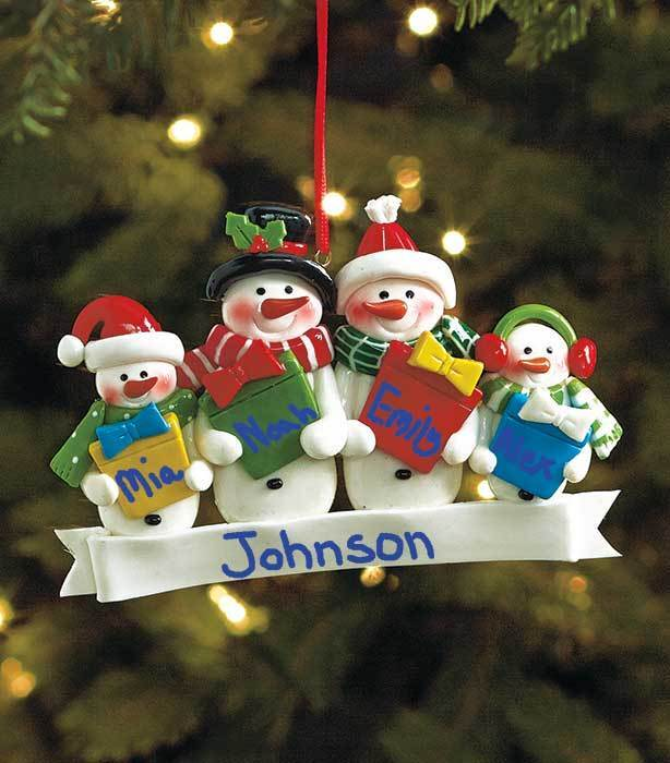 Family of 4 personalized snowman christmas tree ornament for Family of 4 christmas ornament