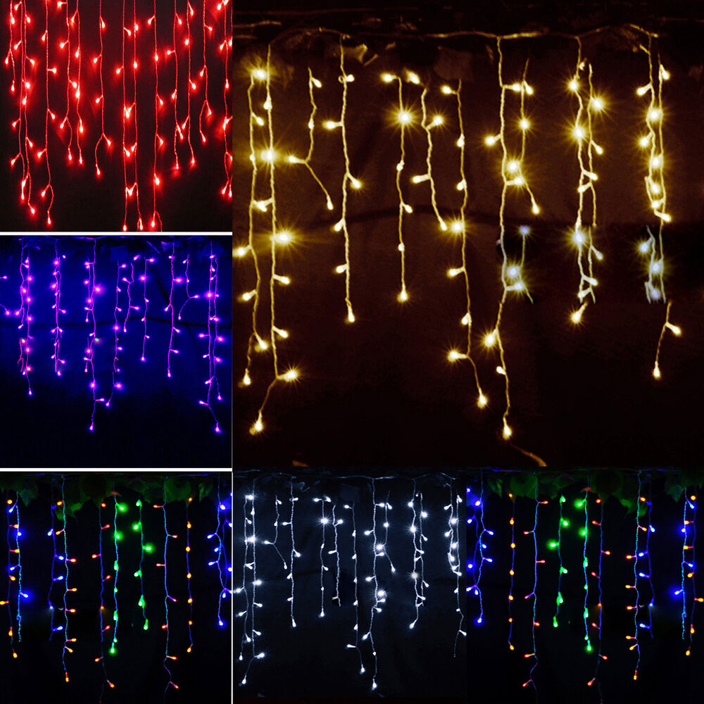String fairy lights icicle hanging snowing curtain for How to hang string lights on trees