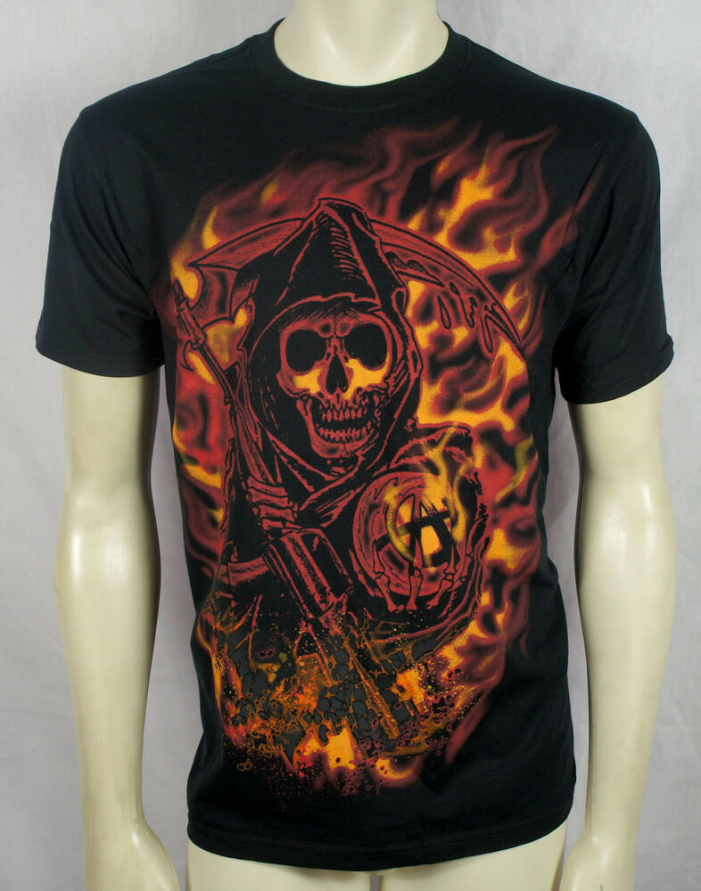 authentic sons of anarchy soa jumbo reaper flames t shirt. Black Bedroom Furniture Sets. Home Design Ideas