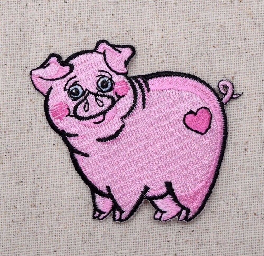Iron on embroidered applique patch pink pig piglet farm