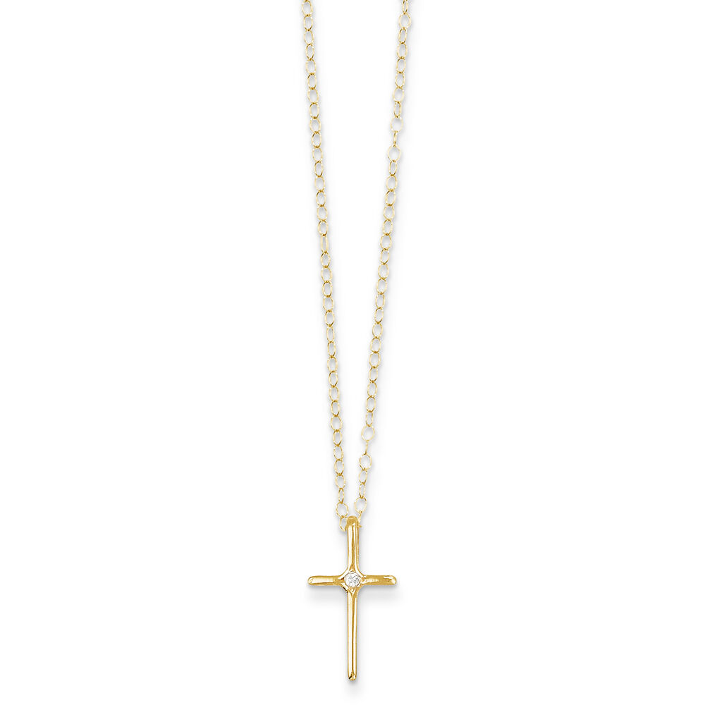 14k yellow gold diamond cross necklace 15 ct madi k. Black Bedroom Furniture Sets. Home Design Ideas