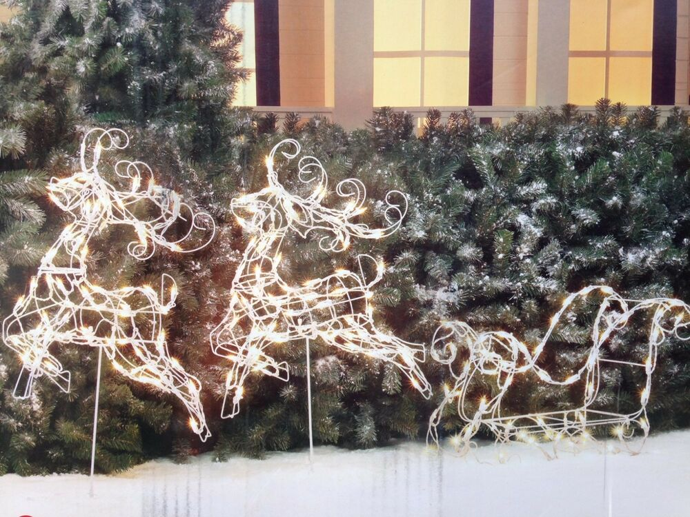 3pc wire frame reindeer with sleigh lighted christmas. Black Bedroom Furniture Sets. Home Design Ideas