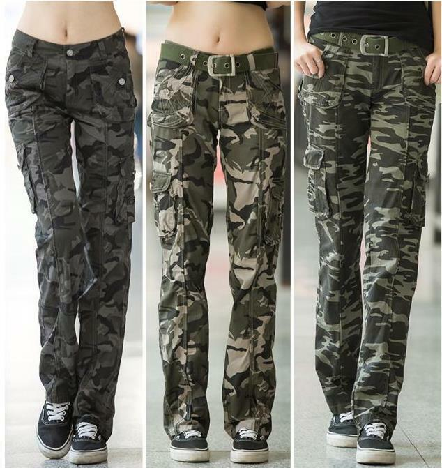 Excellent Women Military Camouflage Cargo Pants Ladies Elastic Waist Sport Joggers Pants | EBay