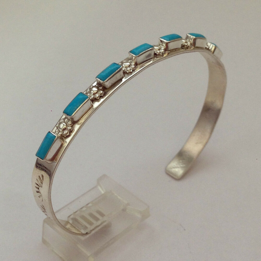 Sterling Silver Navajo Handmade 7 Rectangle Turquoise