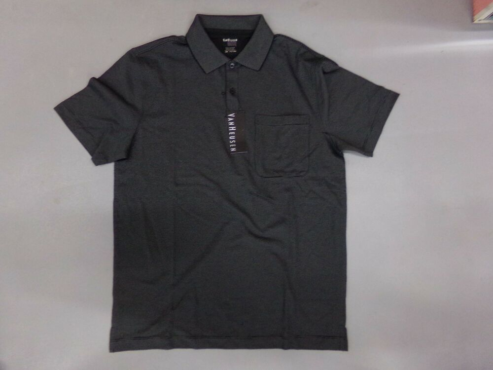 fa6bb76d134cd Details about Men s Size Small VanHeusen Short Sleeve Black Polo Shirt NEW Feeder  Stripe