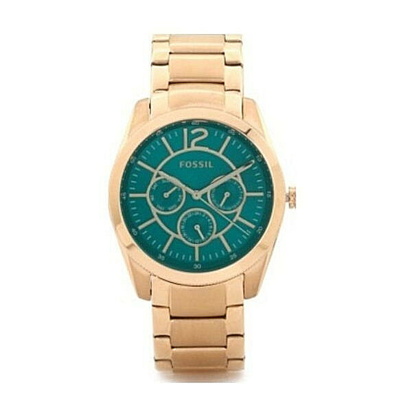 nwt fossil women 39 s watch rose gold bracelet teal dial chronograph bq1689 135 ebay. Black Bedroom Furniture Sets. Home Design Ideas