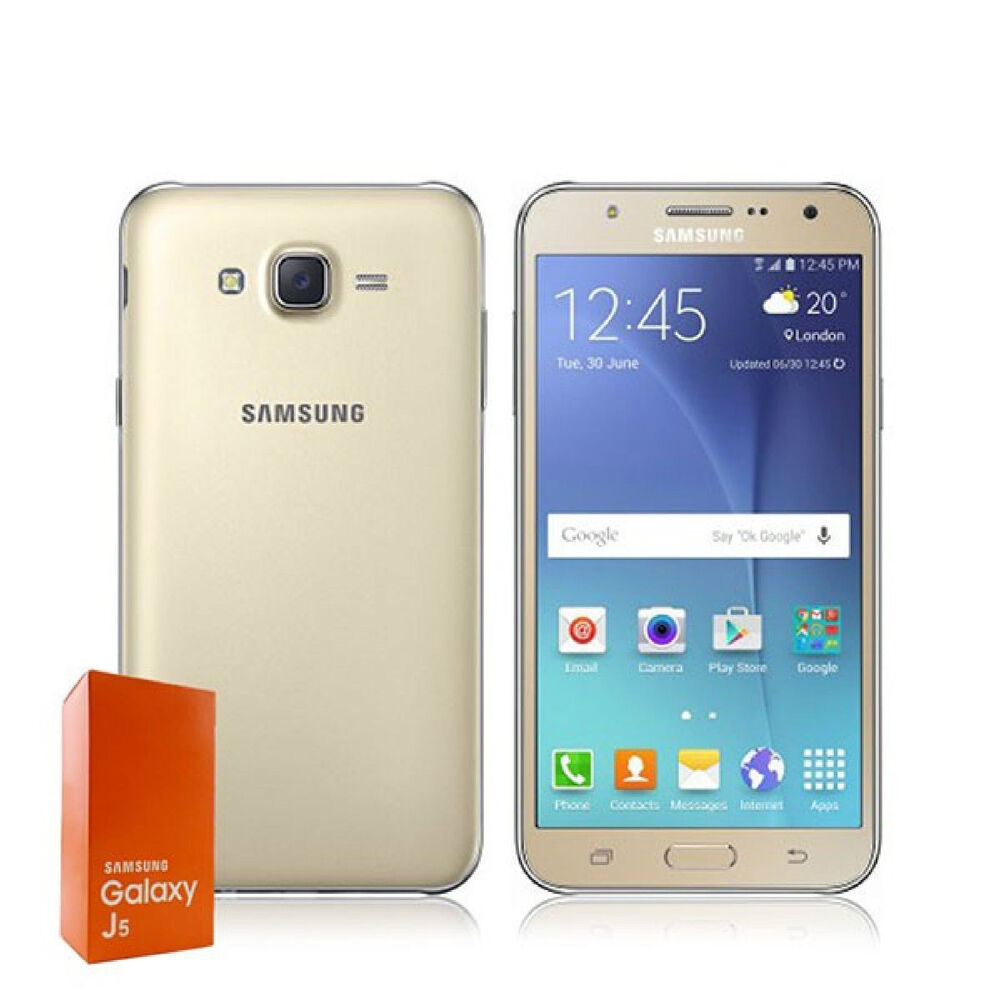 brand new samsung galaxyj5 8gb 13mp simfree dual sim smartphone gold colour ebay. Black Bedroom Furniture Sets. Home Design Ideas