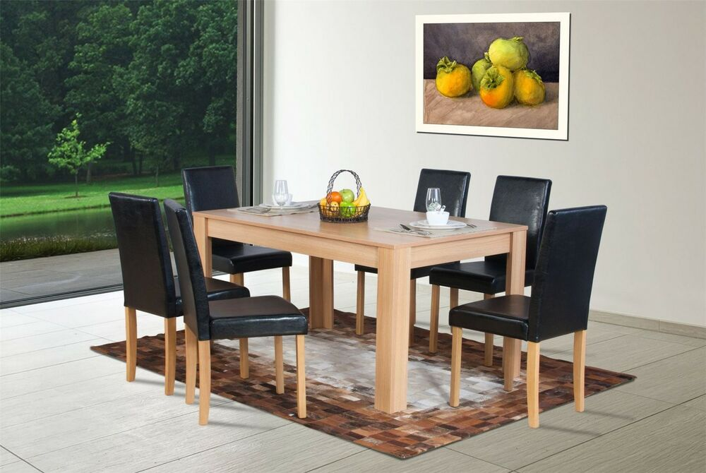 dark brown oak effect wooden dining table 6 high back chair set ebay