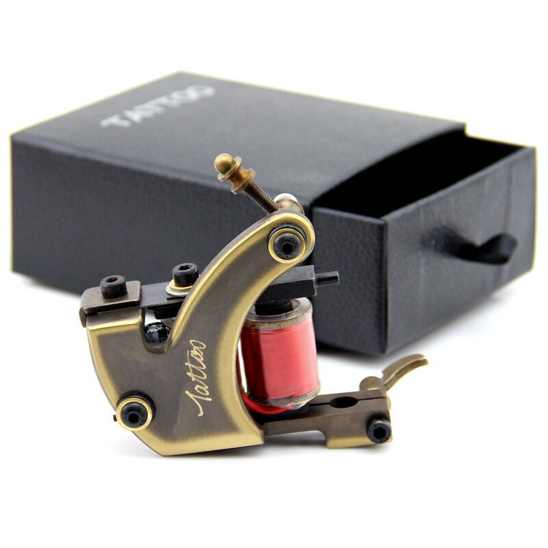 New high quality cnc carved brass coil tattoo machine gun
