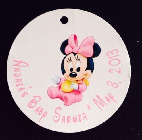 10 baby minnie mouse baby shower favor tags text customized ebay
