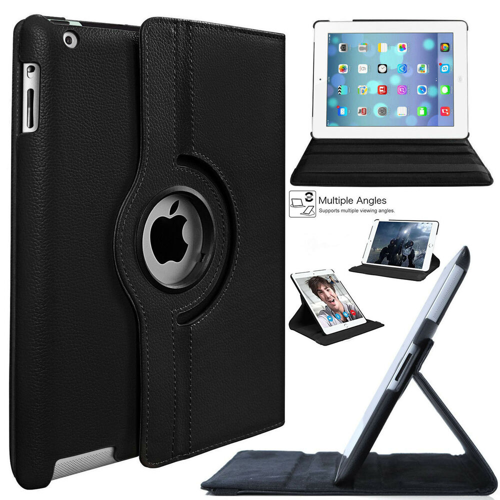 new 360 rotating leather stand case cover for apple ipad 4 3 2 mini air 9 7 2018 ebay. Black Bedroom Furniture Sets. Home Design Ideas