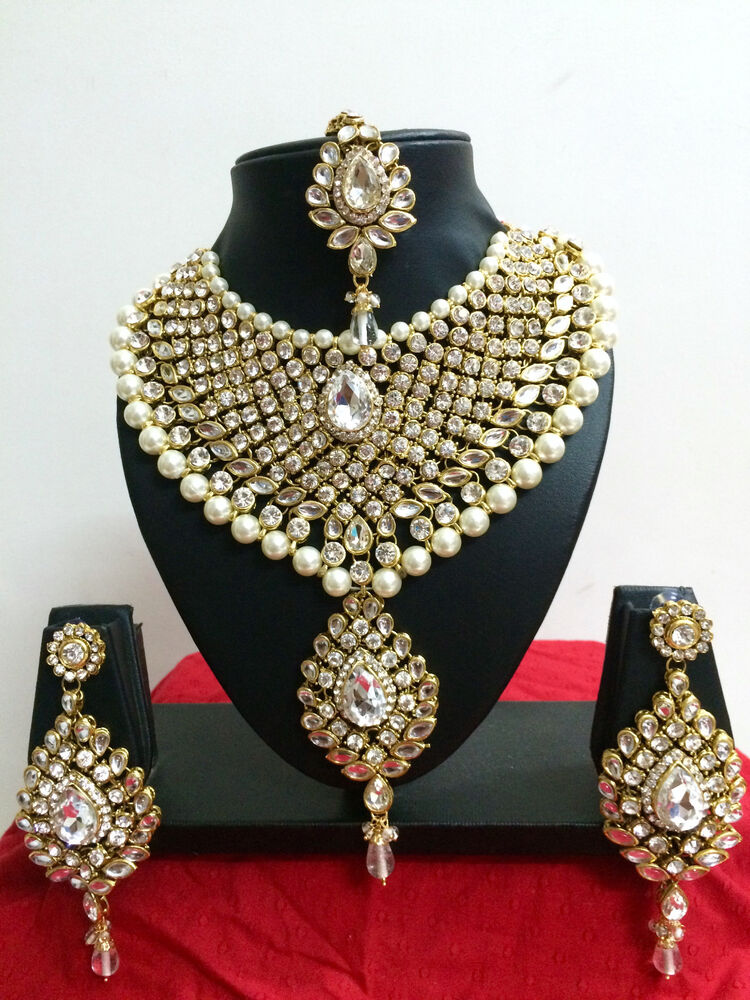 Indian Bollywood Diamante Kundan Pearl Gold Tone Bridal