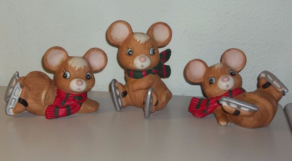 Homco set of three vintage home interiors ice skating mice Home interiors figurines homco