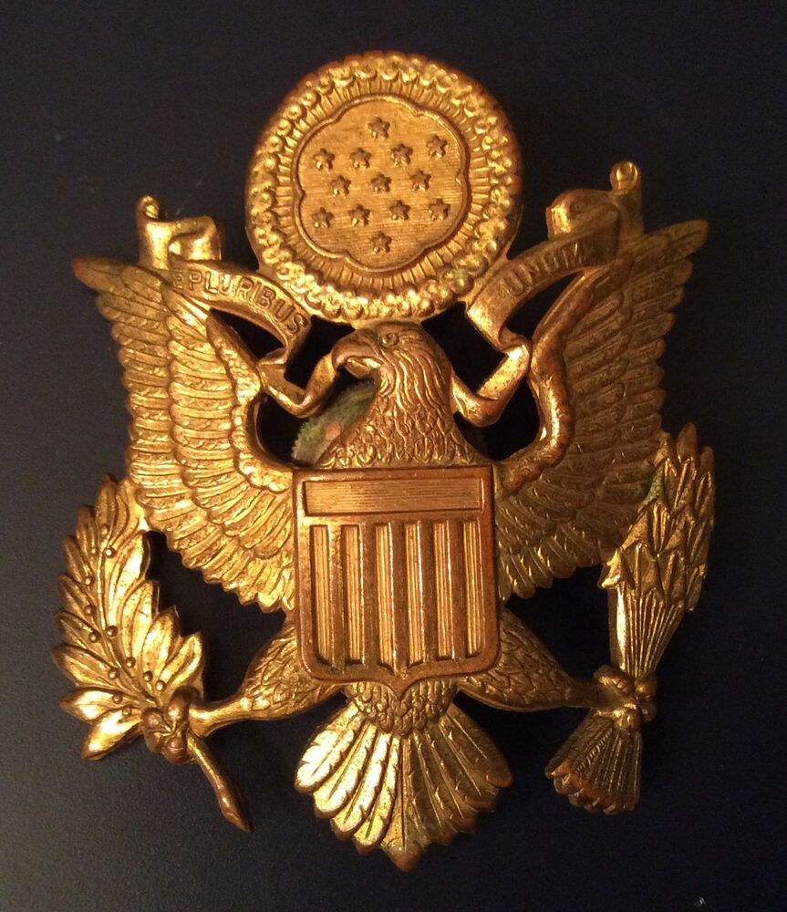 Military Hat Badge Eagle US Army Officer - Gold Colored ...