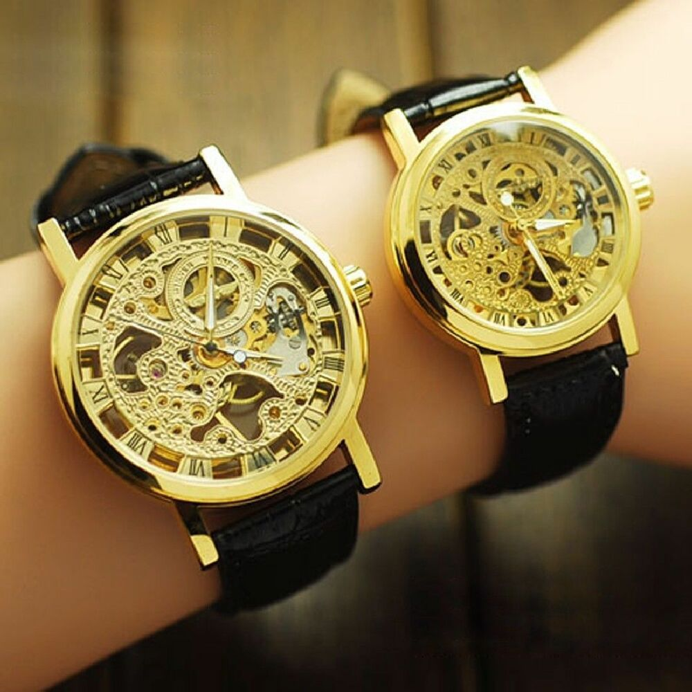 Classic wrist hollow skeleton mechanical couple watch leather strap ebay for Classic skeleton watch