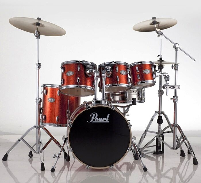 pearl vision vsx 6 pc drum kit orange sparkle includes hardware with 22 bass ebay. Black Bedroom Furniture Sets. Home Design Ideas