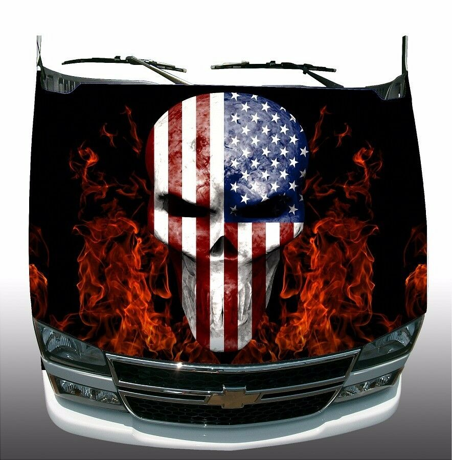 American Flag Skull Flame Fire Hood Wrap Wraps Sticker Vinyl Decal - Rebel flag truck decals   how to purchase and get a great value safely