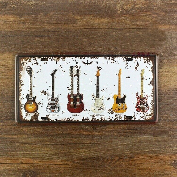 Guitar Decoration Vintage Metal License Plate Bar Wall