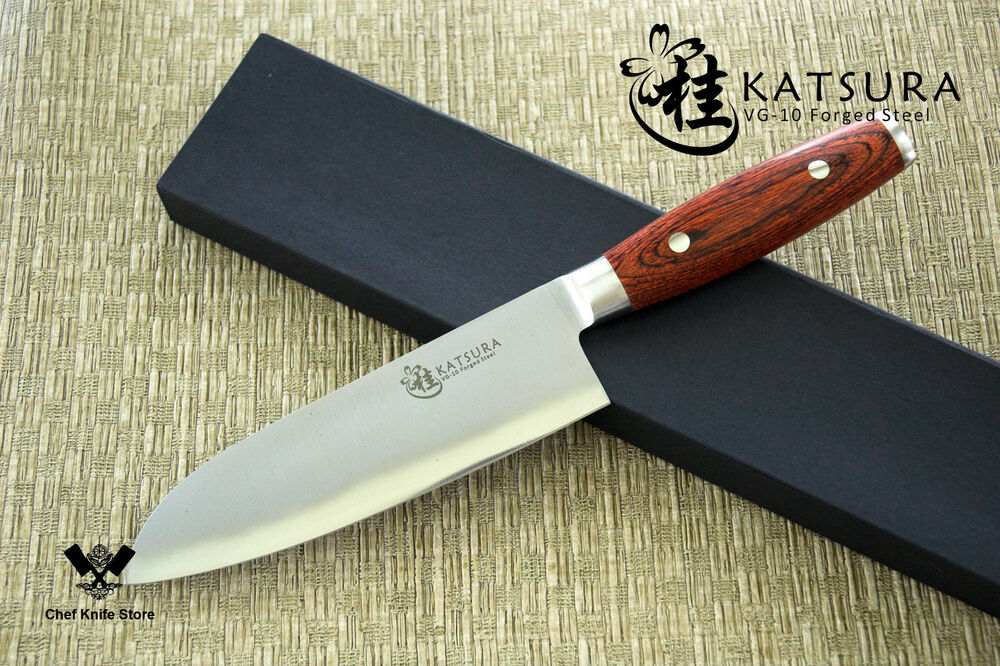 katsura japanese vg 10 3 layer forged steel santoku chef knife 7 inch ran shun ebay. Black Bedroom Furniture Sets. Home Design Ideas