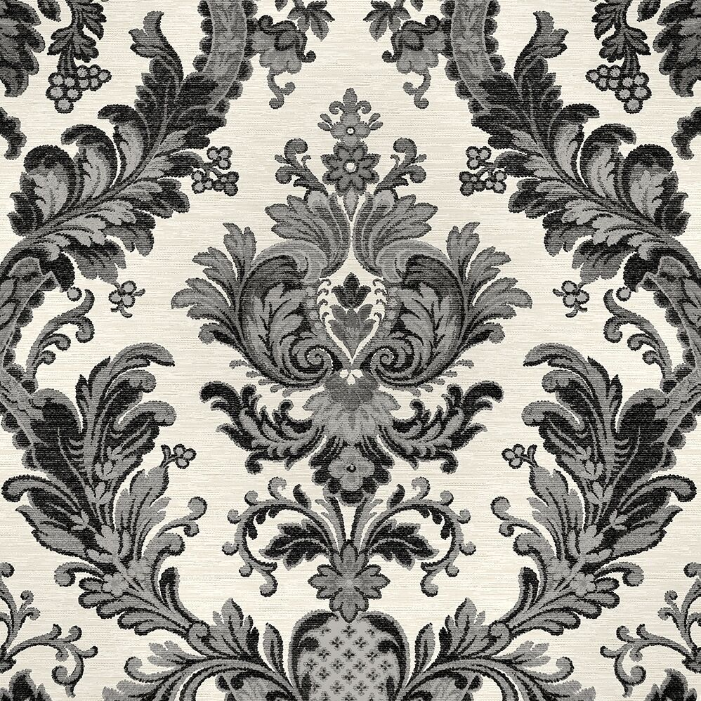 Goodwood black damask wallpaper on light grey textured for Black white damask wallpaper mural