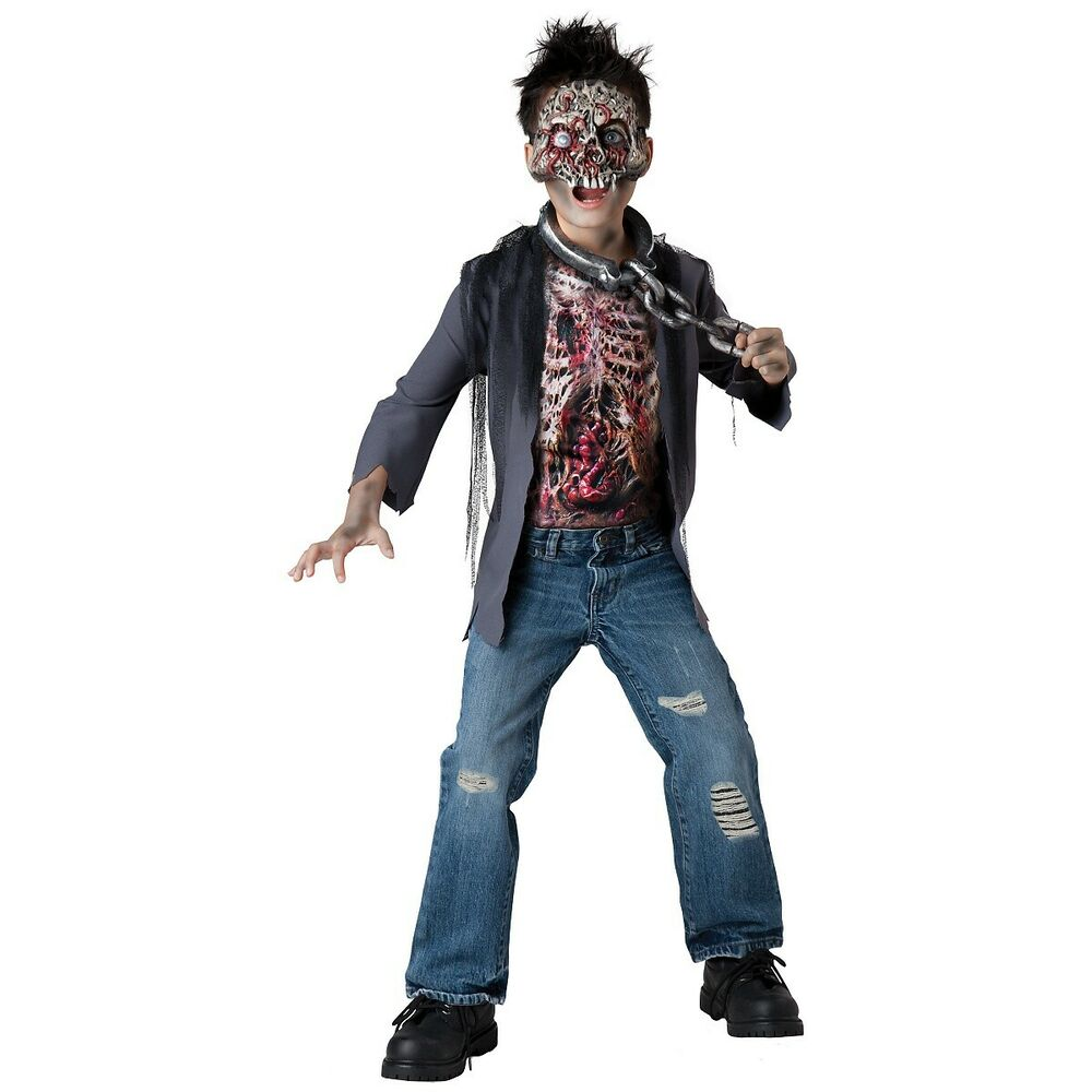 Zombie Costume Kids Scary Skeleton Monster Halloween Fancy ...