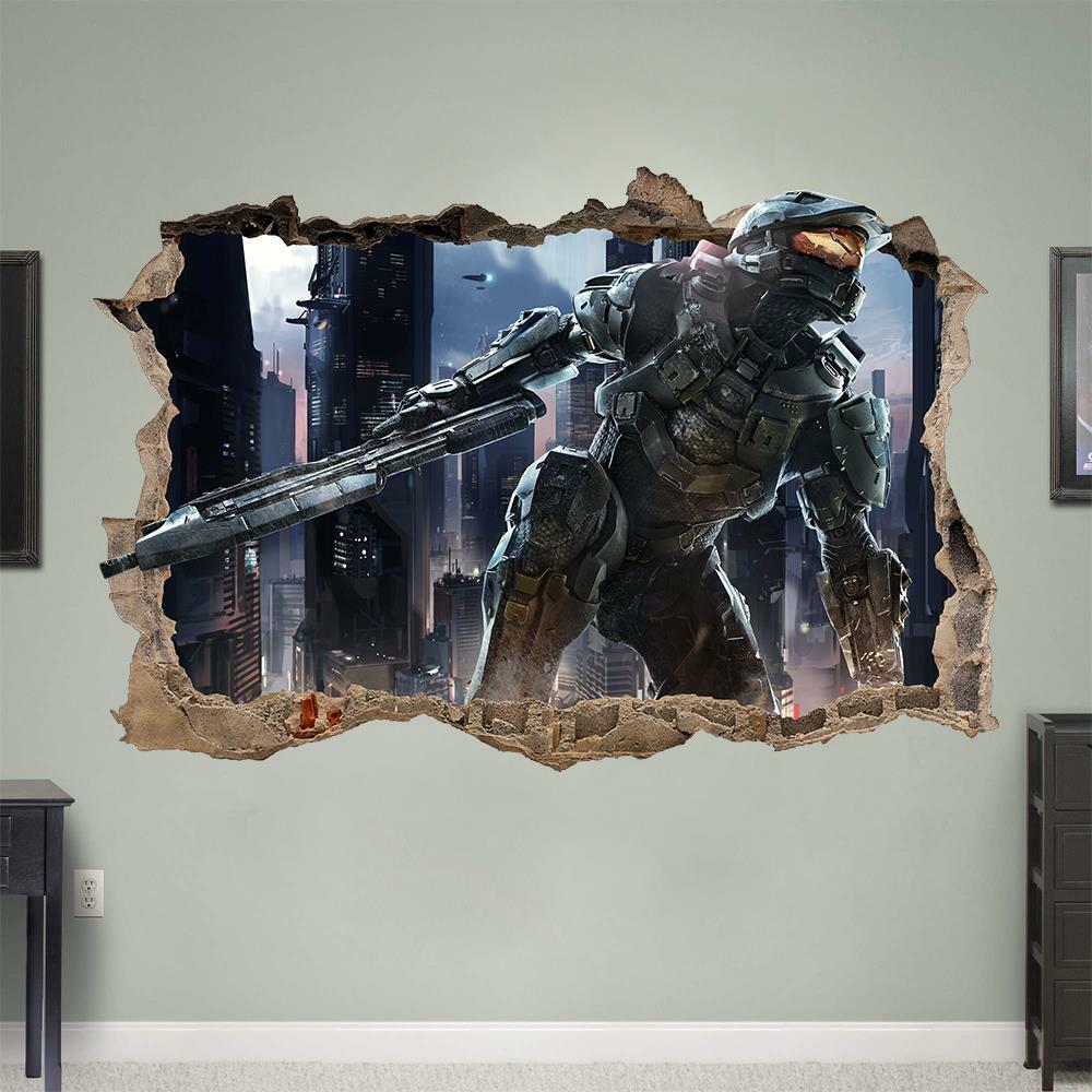 halo 4 5 master chief 3d wall sticker smashed bedroom kids