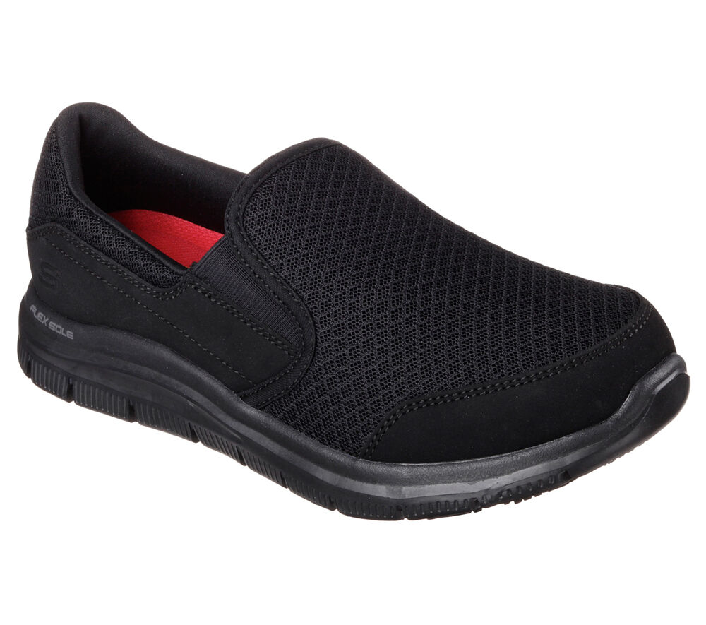 76580 Black Skecher Shoes Women Work Memory Foam Comfortable Slip Resistant Mesh | EBay