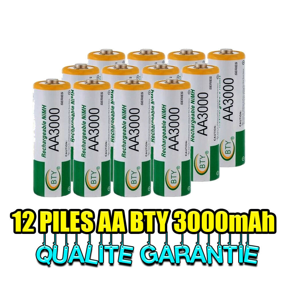 12 piles accus rechargeable aa ni mh 3000mah 1 2v lr06 mignon direct de france ebay. Black Bedroom Furniture Sets. Home Design Ideas
