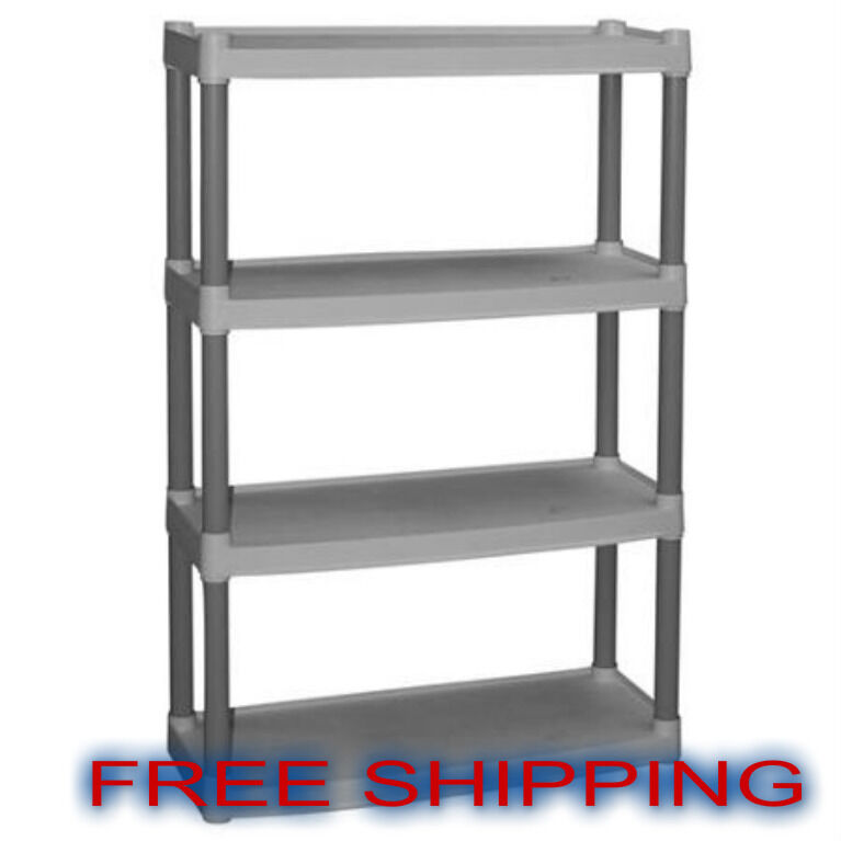 plastic shelves 4 tier organizer storage kitchen heavy duty garage shelving unit ebay. Black Bedroom Furniture Sets. Home Design Ideas