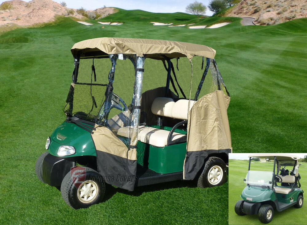 3 sided drivable golf cart 2 seater enclosure fit e z go club car yamaha g mode ebay. Black Bedroom Furniture Sets. Home Design Ideas