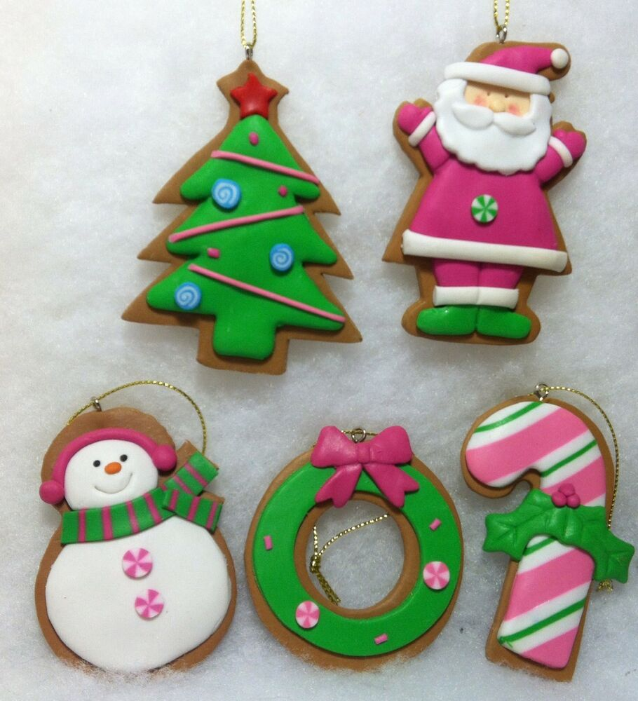 Gingerbread Cookie W Pink Santa, Snowman, Candy Cane