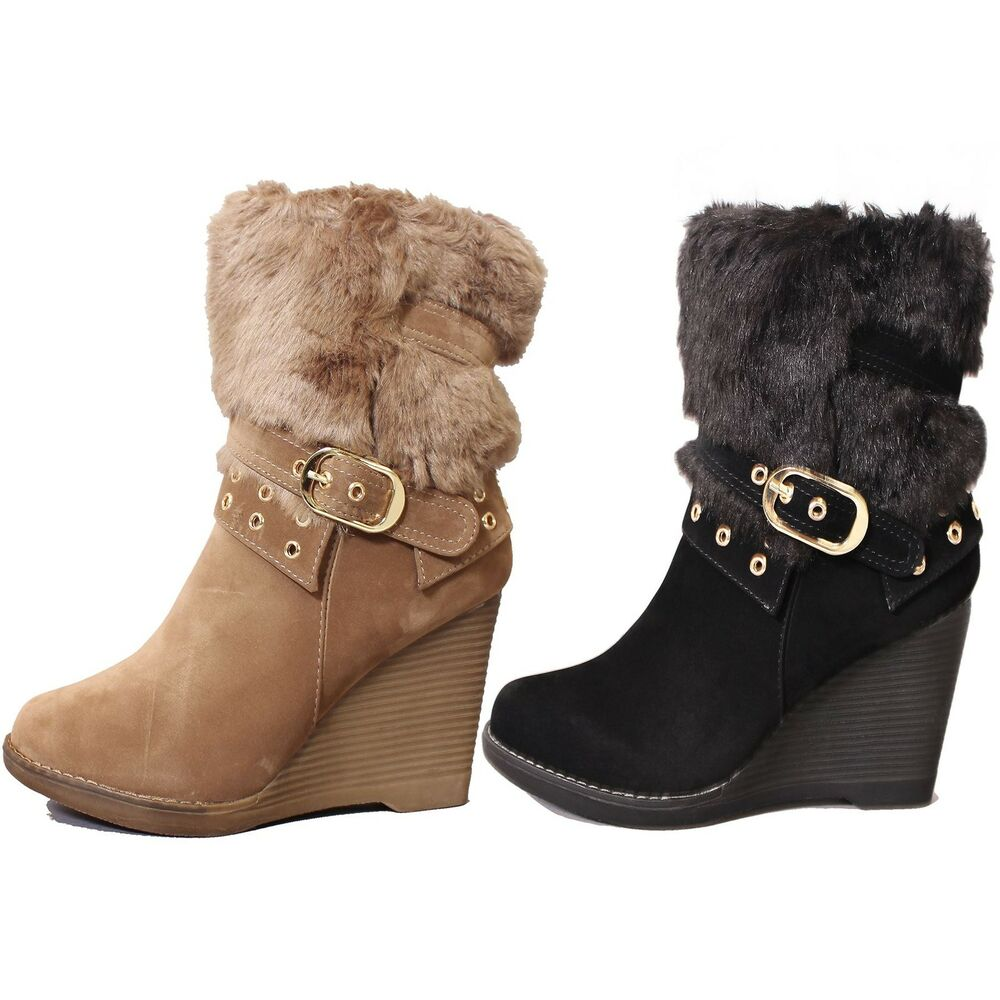 Ladies Faux Suede Fur Trim Calf High Mid Wedge Heel Winter ...