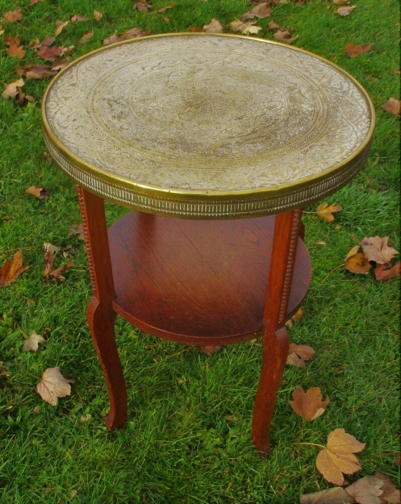 Tea Coffee Side Table Round Wood Engraved Brass Persian