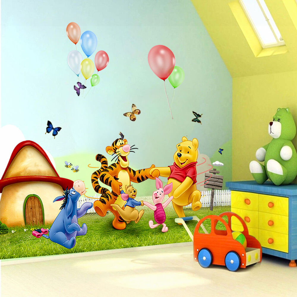 cute winnie the pooh meadow removable wall sticker kids nursery decor decals ebay. Black Bedroom Furniture Sets. Home Design Ideas