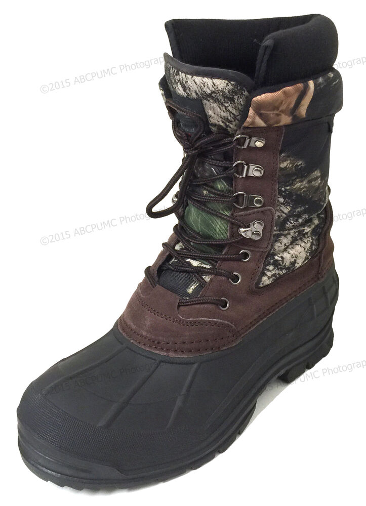 "Mens Winter Snow Boots Camouflage 10"" Leather Waterproof"