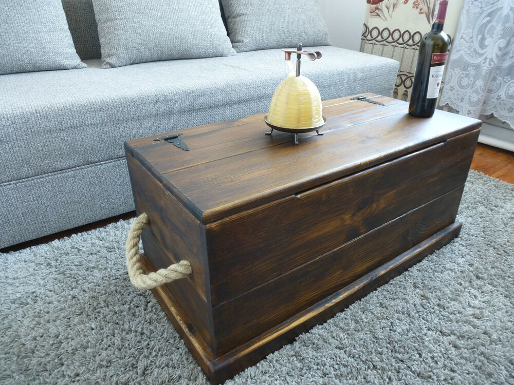 RUSTIC SOLID WOOD CHEST/ TRUNK COFFEE TABLE/ TOY BOX | eBay