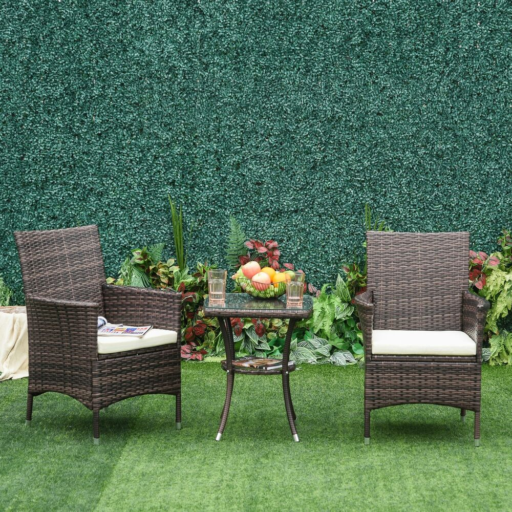 Outsunny 3pc Rattan Furniture Bistro Set Garden Chair Table Patio Outdoor Wicker Ebay