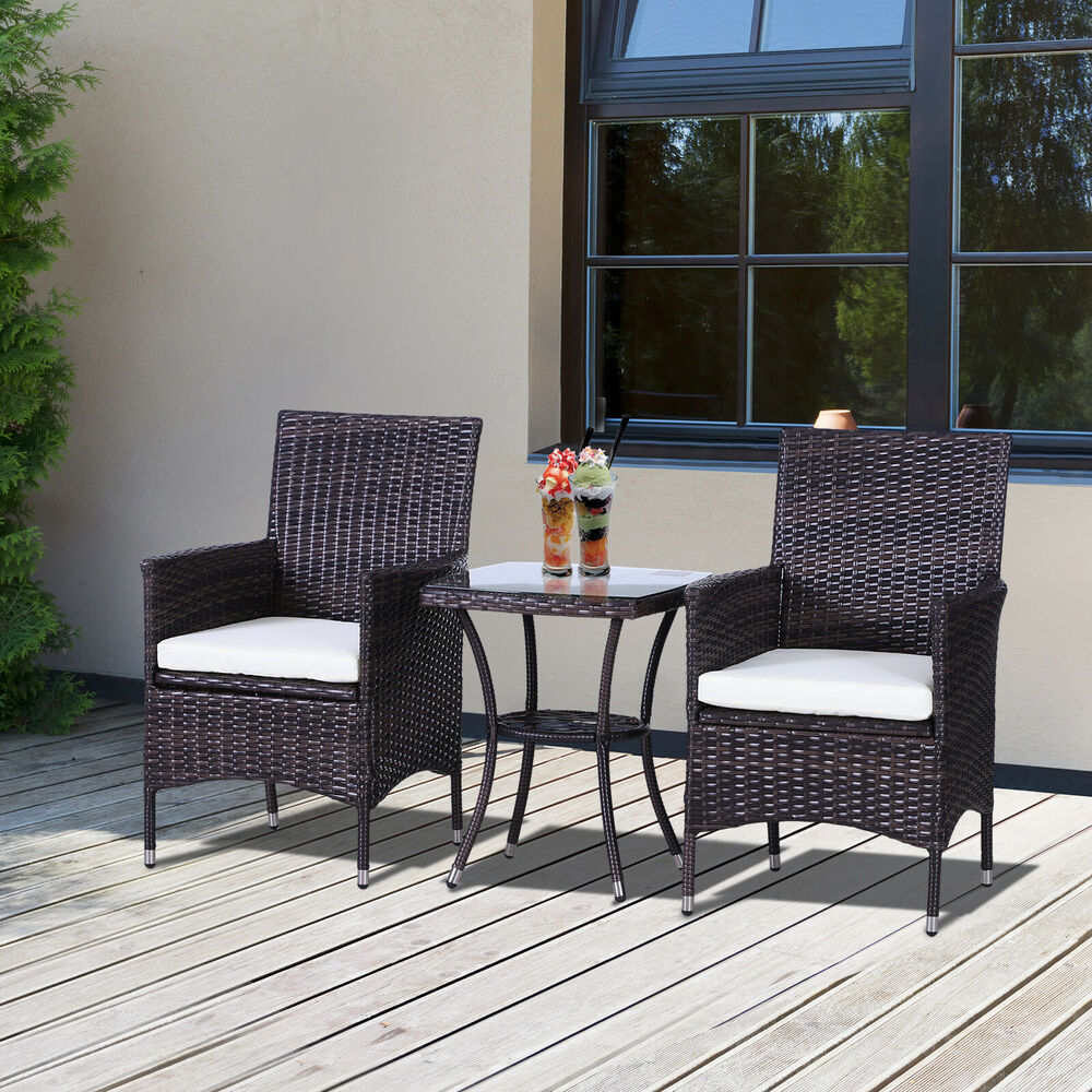 Outsunny 3pc rattan furniture bistro set garden chair for Outdoor garden set