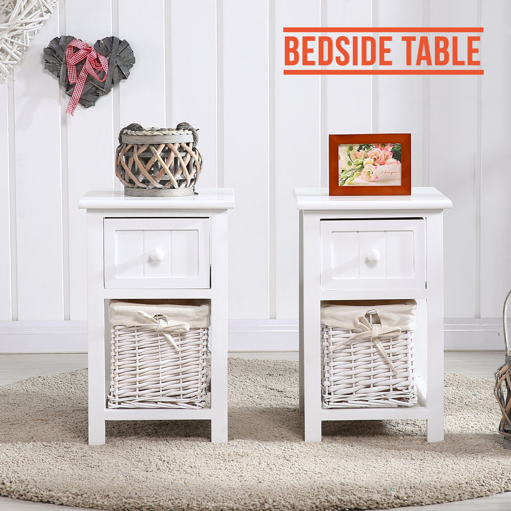 Pair Of White Wooden Shabby Chic Storage Bedside Table
